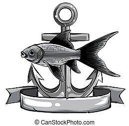 monochromatic Vector - Gold Fish, Carassius Auratus, Fresh ...