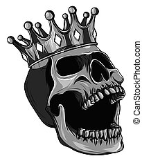 Monochromatic vector skull with crown on white background