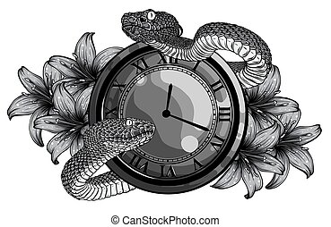 monochromatic Vintage pocket watch with leaves and snake