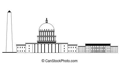 Monochromatic Washington cityscape