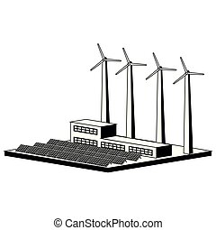 Monochromatic wind and solar power plant. Vector...