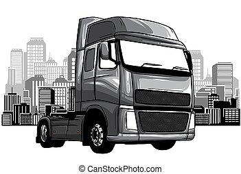 monochromatique, arrière-plan., dessin animé, blanc, déchets, vecteur, isolé, camion