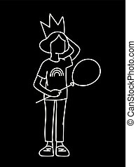 monochromatique, art, simple, main., couronne, girl, style., peu, sketch., elle, concept., isolé, arrière-plan., noir, dessiné, blanc, illustration, main, ligne, lignes, vecteur, balloon