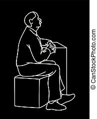 monochromatique, art, simple, vieux, style., sketch., concept., isolé, arrière-plan., noir, dessiné, blanc, cube., sien, séance, illustration, main, ligne, mains, homme, lignes, vecteur, croisement, moustache