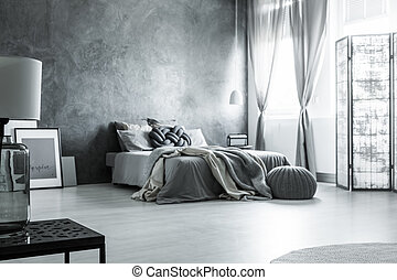 monochromatique, gris, scandinave, conception, chambre à ...