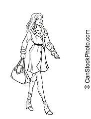 monochromatique, image, automne, dame, vêtements