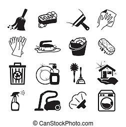 monochromatique, vecteur, nettoyage, icônes