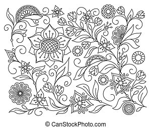 monochrome abstract background with isolated flowers and mandalas