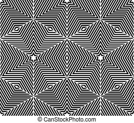 Monochrome abstract interweave geometric seamless pattern. Vector black and white illusory backdrop with three-dimensional intertwine figures. Graphic contemporary covering.