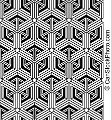 Monochrome abstract interweave geometric seamless pattern....