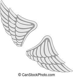 monochrome, ailes, icône
