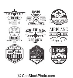 Monochrome Airplane Club Emblems - Monochrome Airplane Club ...