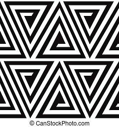 monochrome ancient triangle spiral seamless pattern