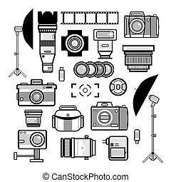monochrome, appareil photo, kit, éléments, photographe