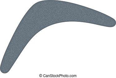 Monochrome Australian boomerang. Cartoon boomerang on a white background. Vector illustration of tribal weapon. Stock vector
