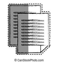 monochrome, autocollant, document, fichier, brouillé