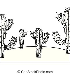 monochrome background with cactus and desert landscape