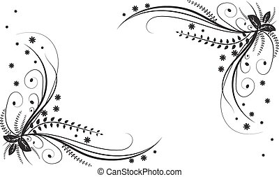 Monochrome background with floral elements. Vector illustrations.