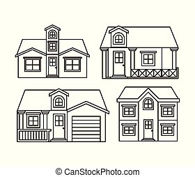 monochrome background with group of houses facades