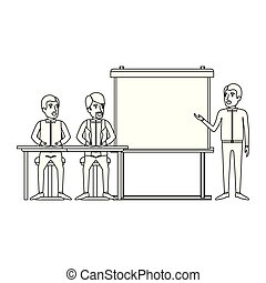 monochrome background with pair of man sitting in a desk for executive lecturer in presentacion business people