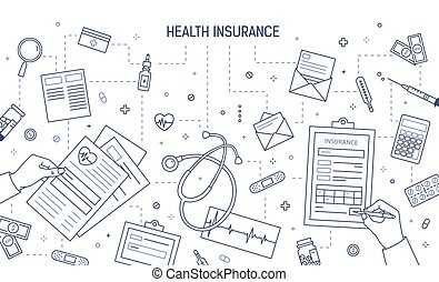 Monochrome banner template with hands filling out document, medical or health insurance form surrounded by medicines and money bills drawn with contour lines. Vector illustration in linear style.