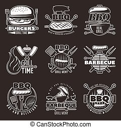 White on black barbecue isolated emblems set with barbecue grill and frying pan with food symbols vector illustration