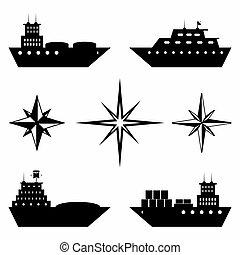 monochrome, bateaux, collection, icônes