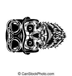 Monochrome bearded skull of hipster vector illustration