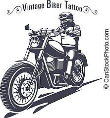 Monochrome Biker Tattoo Template