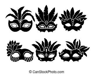 Monochrome black illustrations of carnival masks isolated on white background