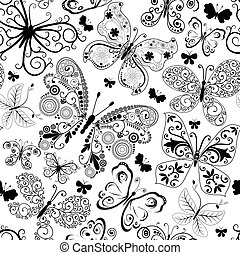 Monochrome black seamless pattern with lacy butterflies (...