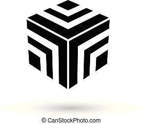 Monochrome Black Striped Cube Vector Illustration