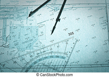 blue backlit surveyor\'s plan, circle and set square