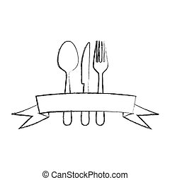 monochrome blurred contour of cutlery with ribbon