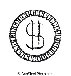 monochrome blurred silhouette of coin with money symbol