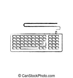 monochrome blurred silhouette of computer keyboard