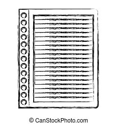 monochrome blurred silhouette of striped notebook sheet in blank