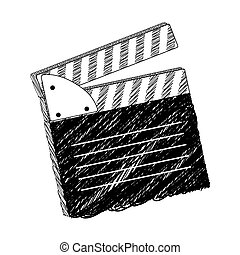 monochrome blurred silhouette with clapperboard cinema
