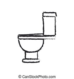 monochrome blurred silhouette with toilet icon side view
