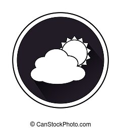 monochrome border with silhouette cloud and sun