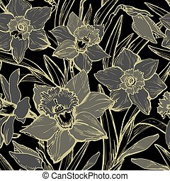 Monochrome botanical seamless pattern with hand drawn closeup Daffodil flowers.