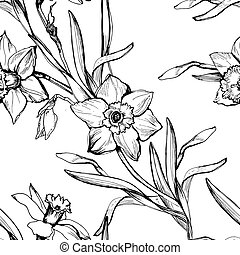 Monochrome botanical seamless pattern with hand drawn flowers daffodils.