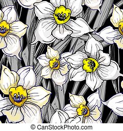 otanical seamless pattern with hand drawn flowers daffodils