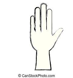 monochrome, brouillé, silhouette, main gauche