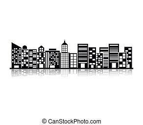 monochrome building and city illustration scene