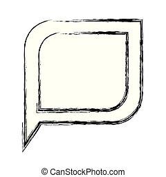 monochrome, bulle discours, silhouette, brouillé