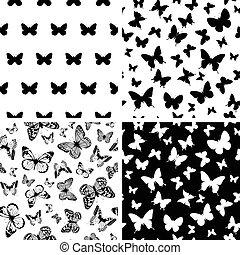 monochrome butterfly background set