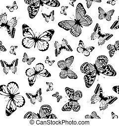 monochrome butterfly background