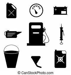 monochrome car accessories collection of icons