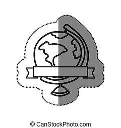 monochrome, carte, autocollant, silhouette, mondiale